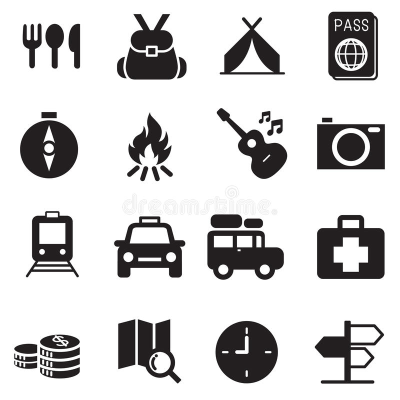 Reisende kampierende Ikonen der Entdeckung stock abbildung