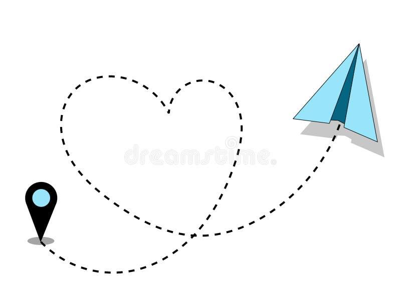 Reisende Konzept-Liebe Geformter Markstein des Flugzeugpapierfliegenweg-Herzens lizenzfreie abbildung