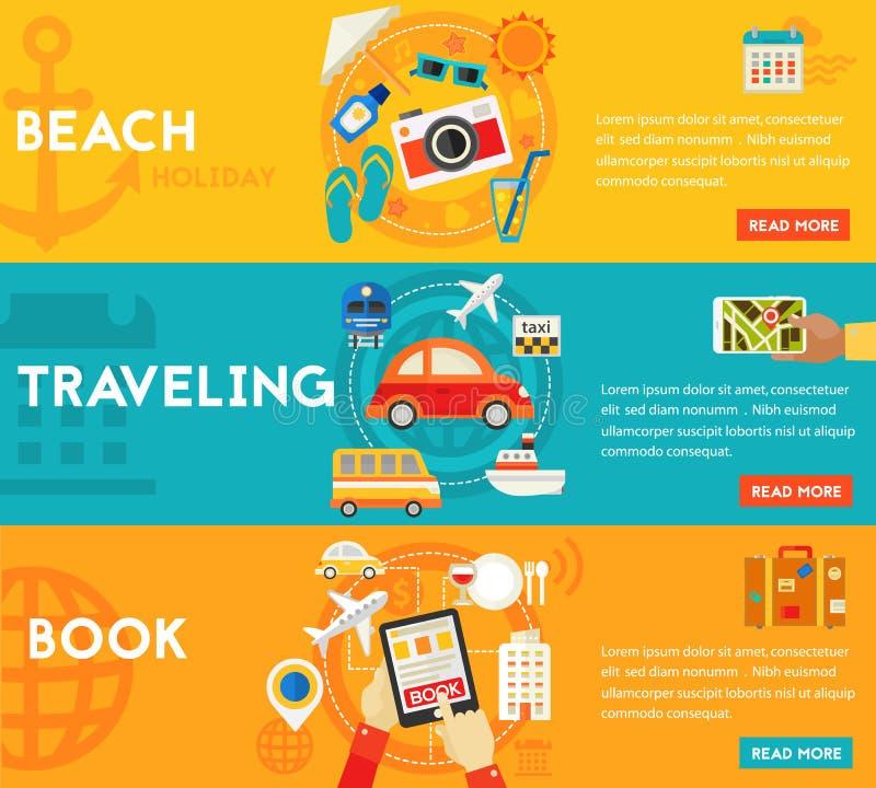 Reisende Konzepte - Strand, Besichtigung, suchend und buchen, Tourismus Flache materielle horizontale Fahnen vektor abbildung
