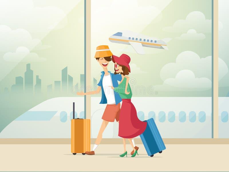 Reisende Paare von jungen Leuten Mann und Frau mit Gepäck sind gehen in das Flughafengebäude Vektorillustration in stock abbildung