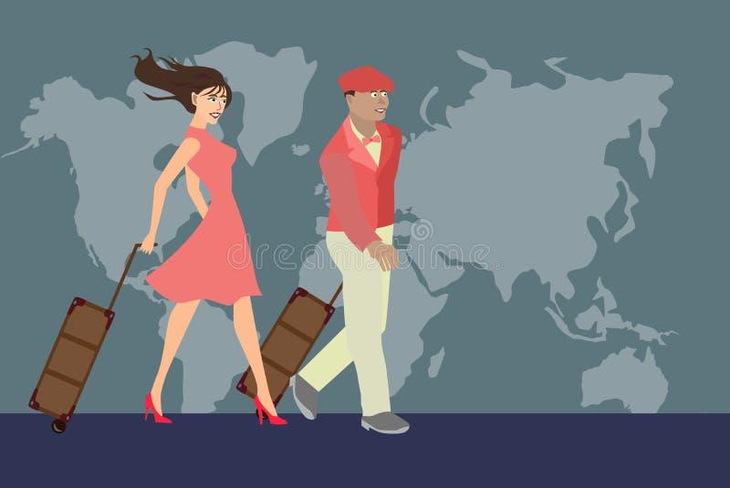 Reisender Mann- und Frauenpaarweinleseretrostil mit Gepäck im rosa Kleid vor der Weltkarte lizenzfreie abbildung