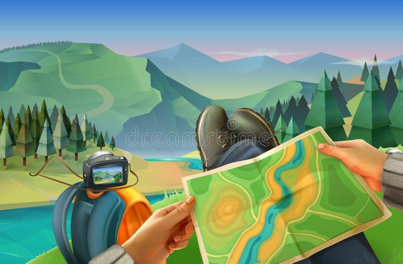 Reisender mit einer Karte stock abbildung