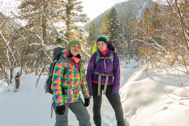 Reisender mit zwei glücklicher Frauen mit Rucksäcken gehend in Winterwald lizenzfreie stockfotografie