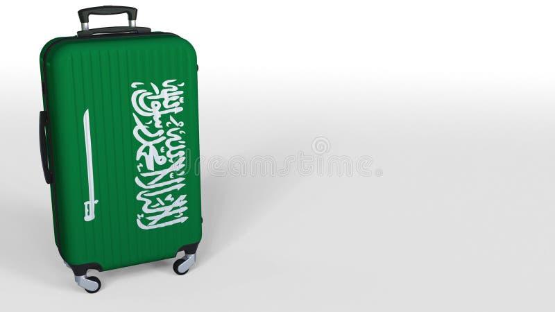 Reisender ` s Koffer, der Flagge von Saudi-Arabien kennzeichnet Tourismusbegriffs-3D Wiedergabe, Leerstelle für Titel stock abbildung