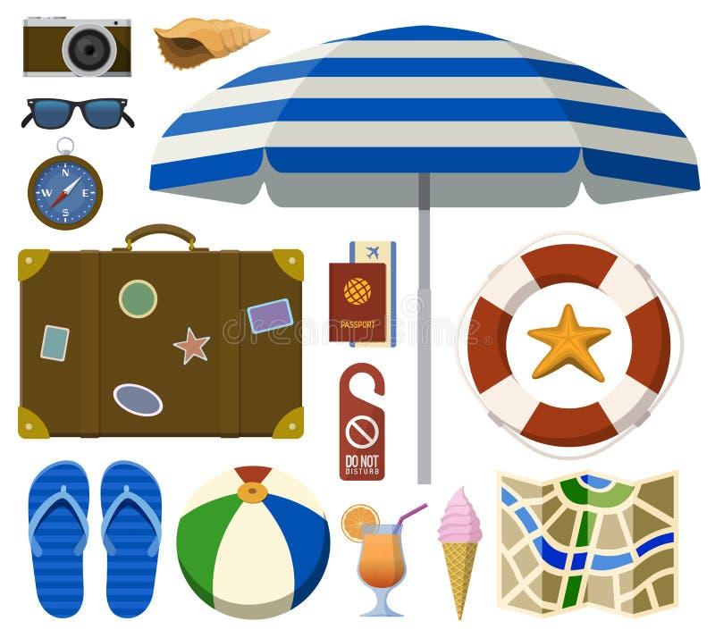 Reisender Satz mit Touristen- und Strandzubehör stock abbildung