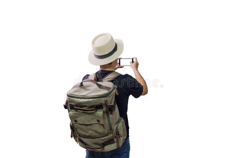Reisender Wanderer des asiatischen Mannes lizenzfreie stockfotos