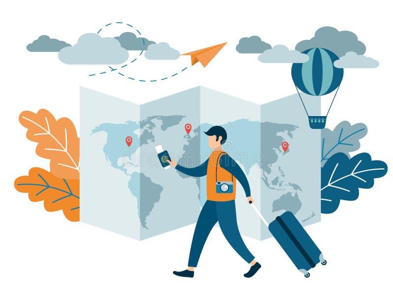 Reisendes Design der Leute Ein Mann mit einem Koffer, der einen Pass und Flugtickets hält lizenzfreie abbildung
