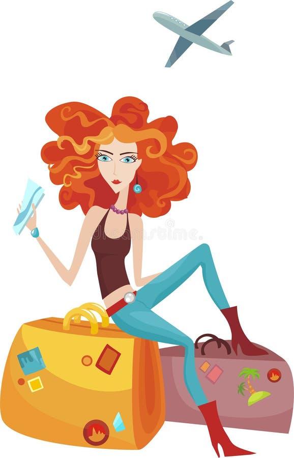 Reisendes Mädchen vektor abbildung
