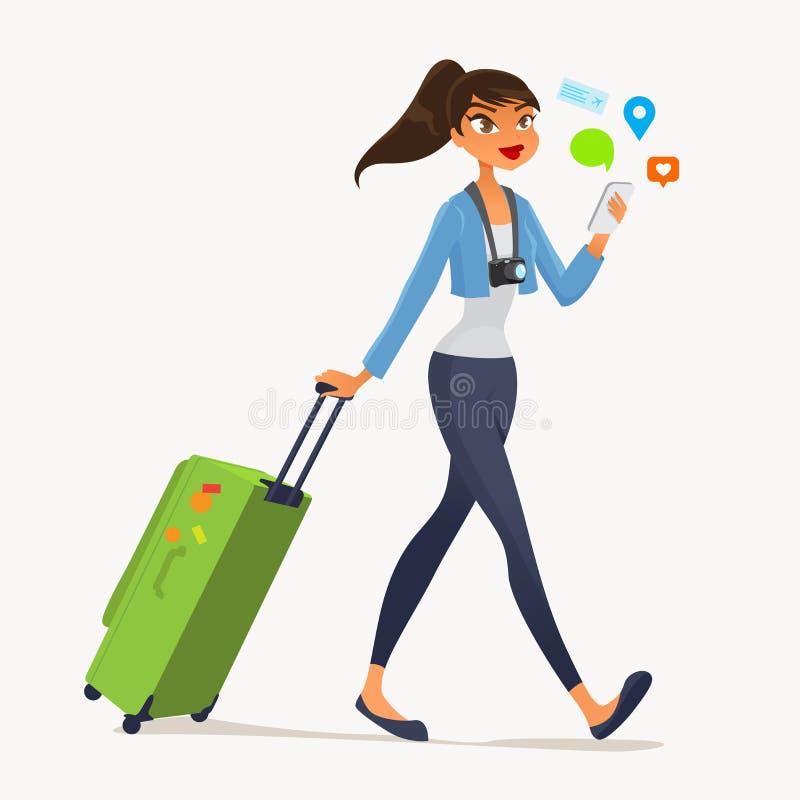 Reisendes Mädchen lizenzfreie abbildung