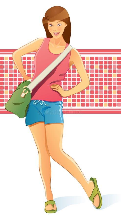 Reisendes Mädchen mit Beutel lizenzfreie abbildung