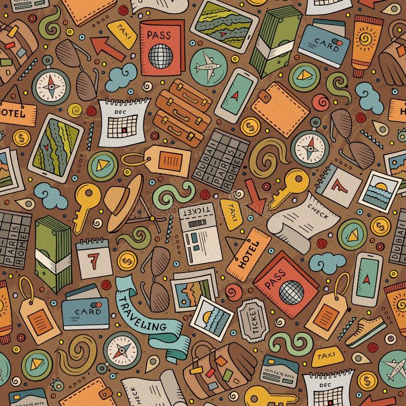 Reisendes nahtloses Muster der Karikatur mit vielen Gegenständen lizenzfreie abbildung