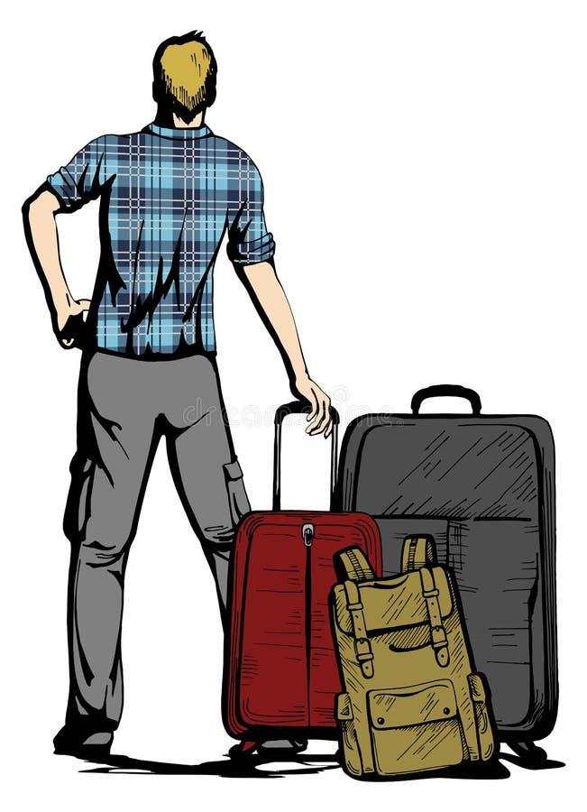 Reisendmann mit Koffern und Rucksack lizenzfreie abbildung