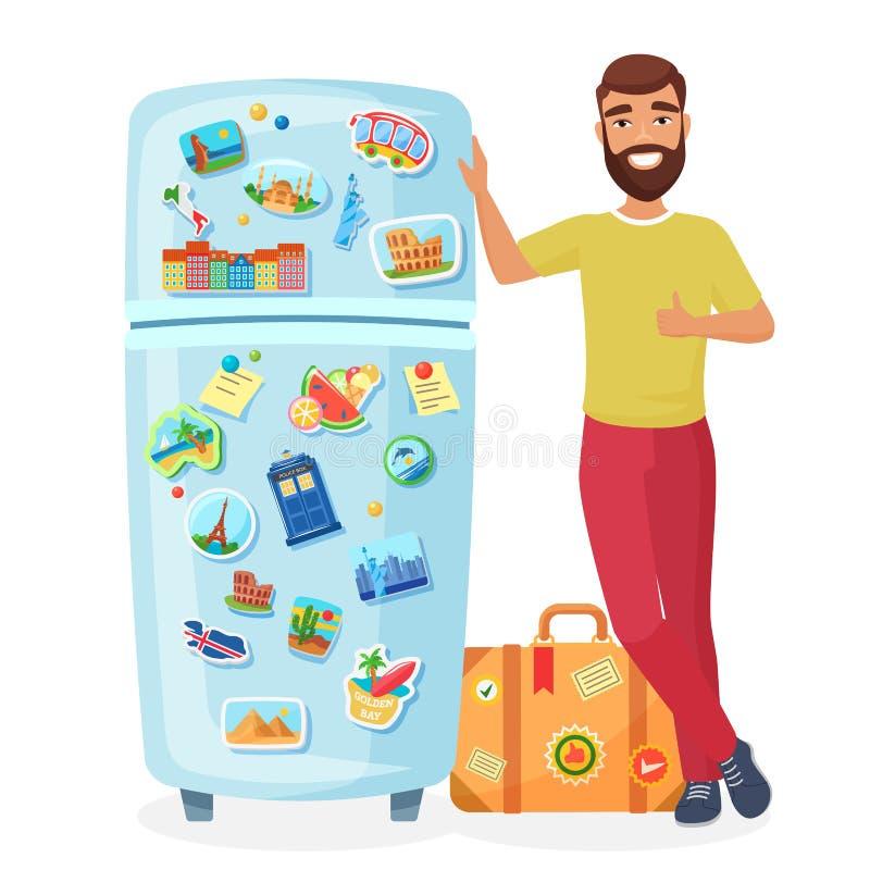 Reisendvertretungskühlschrank mit flacher Vektorillustration der Magneten stock abbildung