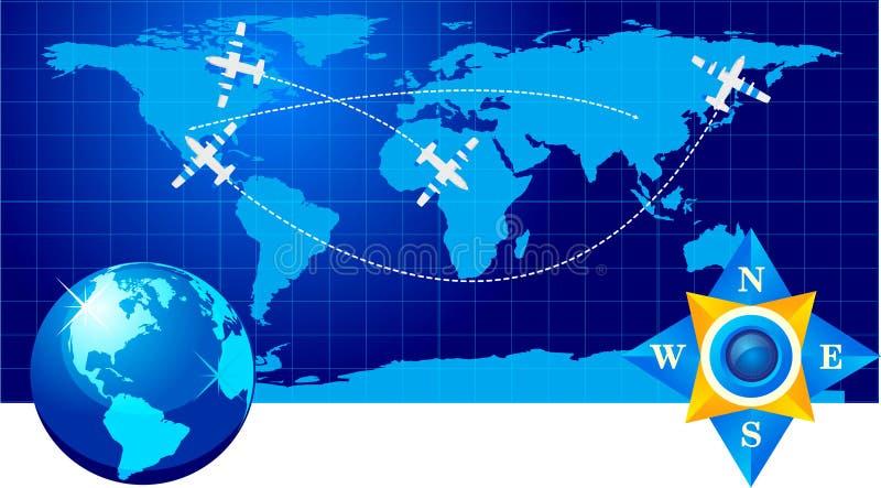 Reisenflugzeug auf Karte lizenzfreie abbildung