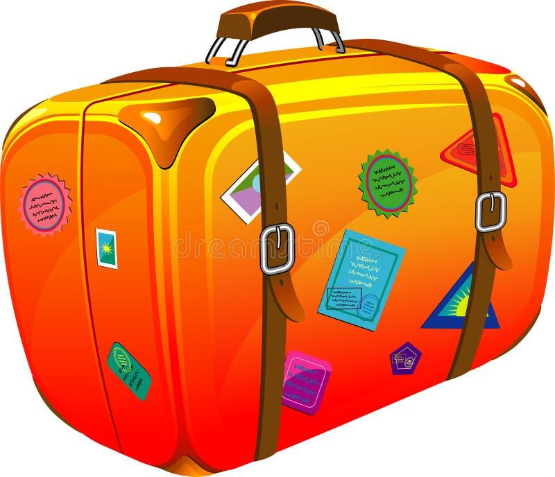 Reisenkoffer mit Aufklebern lizenzfreie abbildung