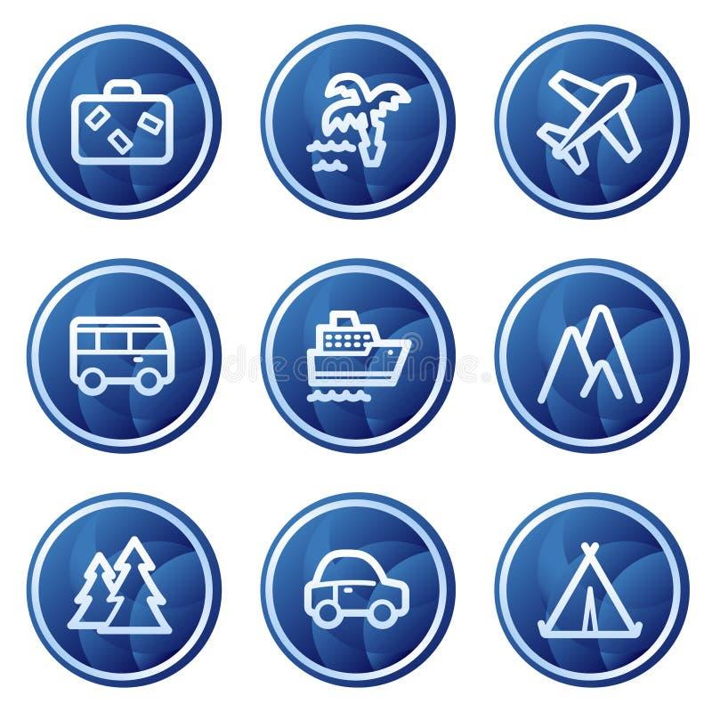 Reisenweb-Ikonen, blauer Kreis knöpft Serie stock abbildung