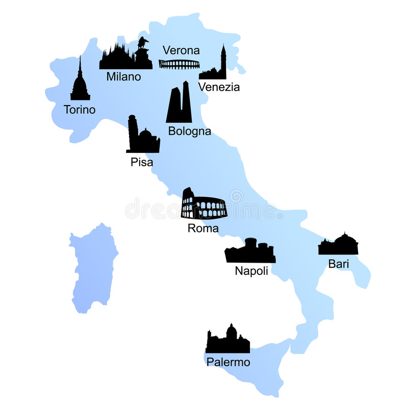 Reisenzieleinheiten auf Italien-Karte stock abbildung
