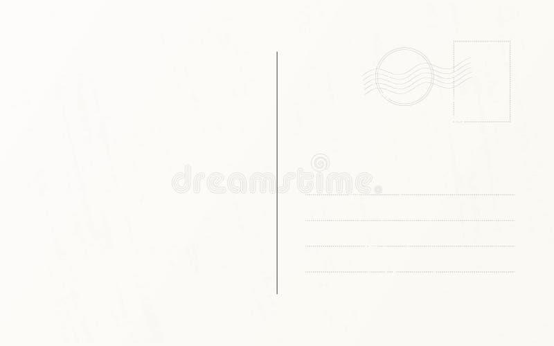 Reisepostkarten-Designschablone Retro- Reisepostkarten-Rückseitenschablone stock abbildung