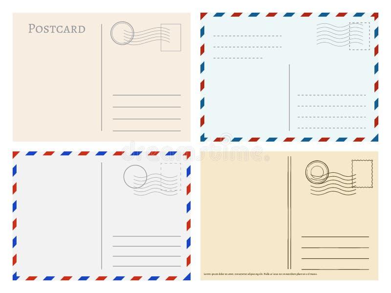 Reisepostkartenschablonen Grußpostkartenrückseiten-Vektorsatz stock abbildung