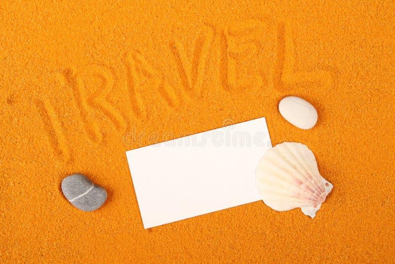 Reisesandschreiben stockbild