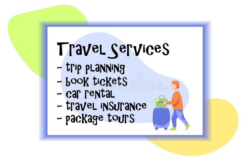 Reiseservice-Karte mit Mann touristischen Reisens mit Gepäckkasten und Taschenvektorillustration Flacher Reisendcharakter vektor abbildung
