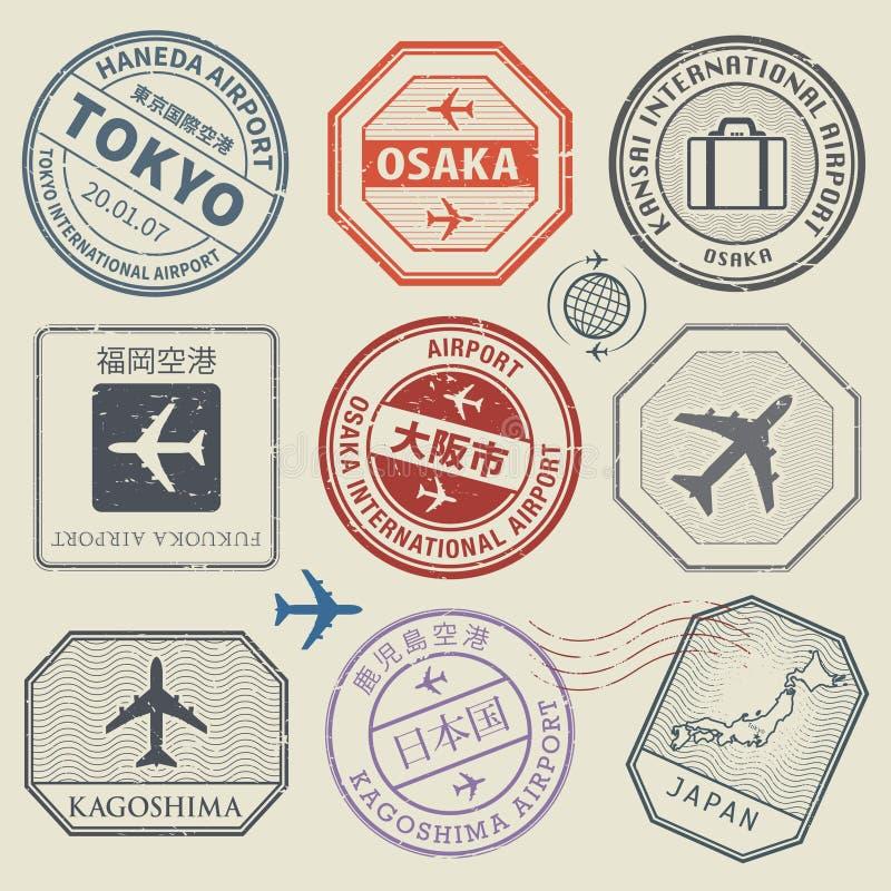 Reisestempel oder Abenteuersymbolsatz, Japan-Flughafenthema lizenzfreie abbildung