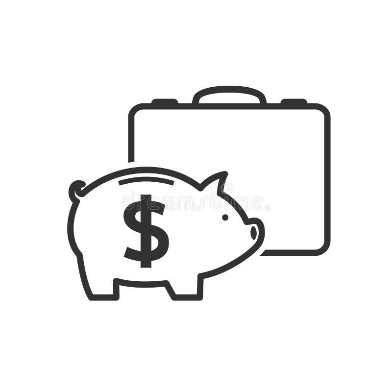 Reisetasche mit Sparschwein-Entwurfs-Ikone lizenzfreie abbildung
