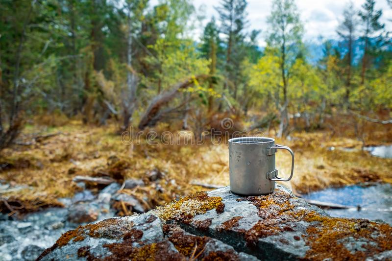 Reisetitanschale schöne Natur Norwegen lizenzfreie stockfotografie