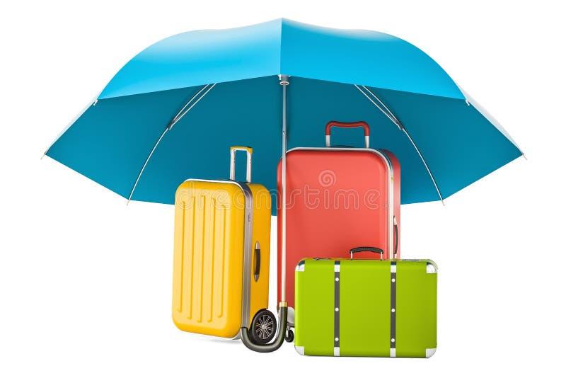 Reiseversicherungskonzept, Koffer unter Regenschirm Wiedergabe 3d lizenzfreie abbildung