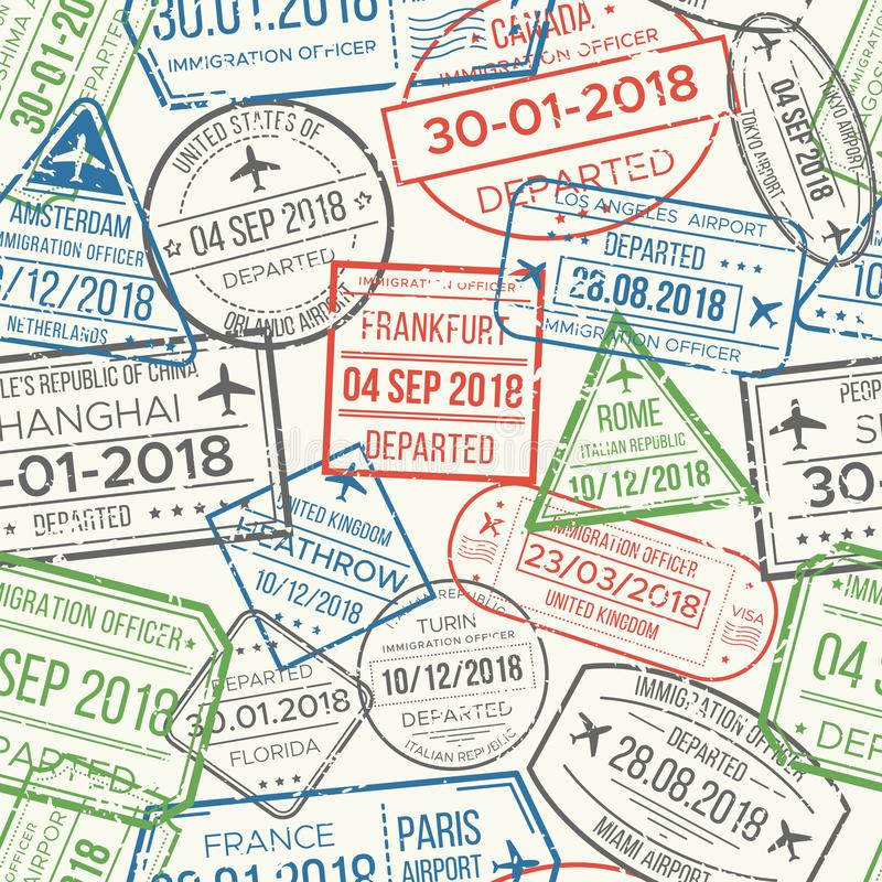 Reisevisumsflughafen stempelt nahtloses Muster Stempel des reisenden Dokuments, des Kolbens oder des Passes kopiert Vektor lizenzfreie abbildung