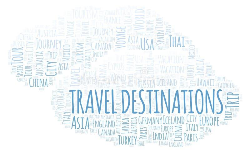 Reisezielwortwolke lizenzfreie abbildung