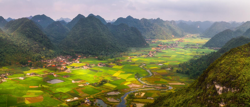 Reisfeld im Tal herum mit Bergpanoramaansicht in Bac Son-Tal, Lang Son, Vietnam stockfotografie
