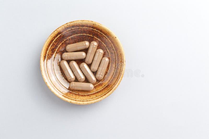 Reishi Mushroom Extract Begreppet kosttillskott är hälsosamt arkivfoto