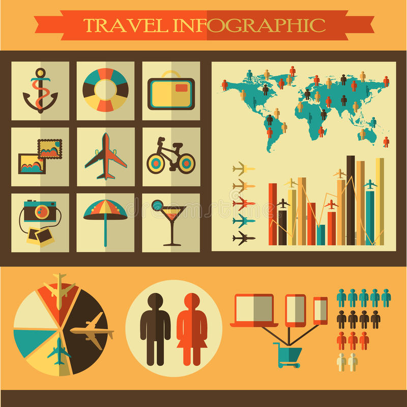 Reisinfographics met pictogrammen stock illustratie