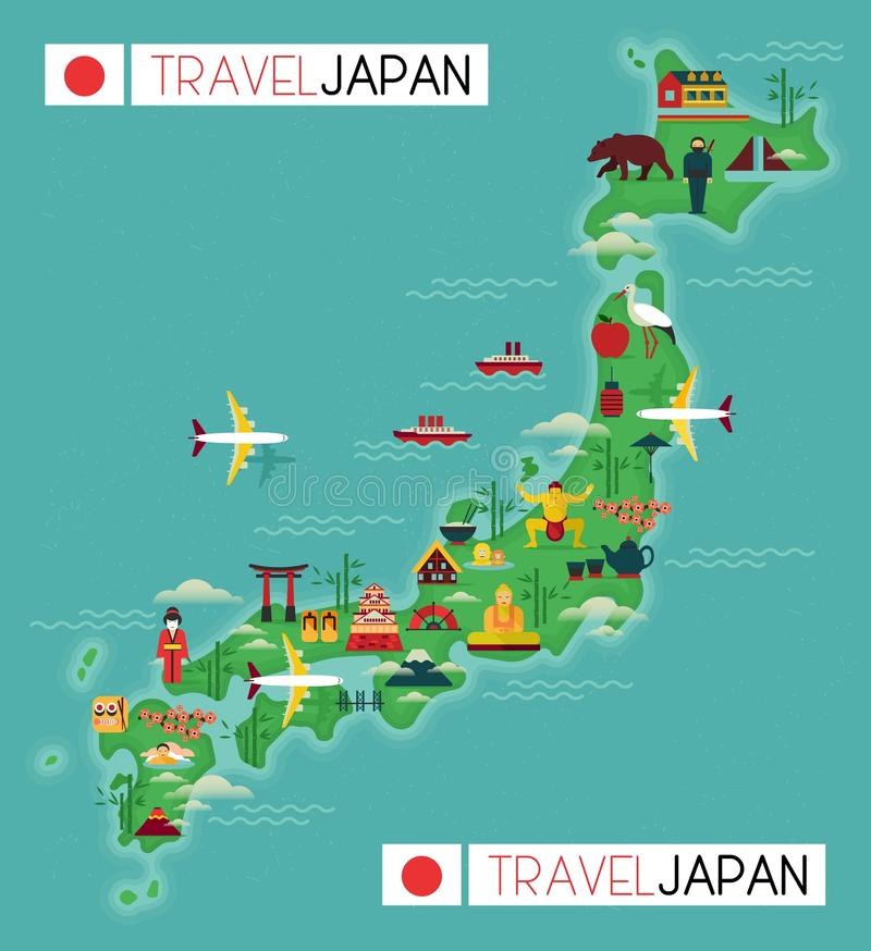 Reiskaart van Japan royalty-vrije illustratie