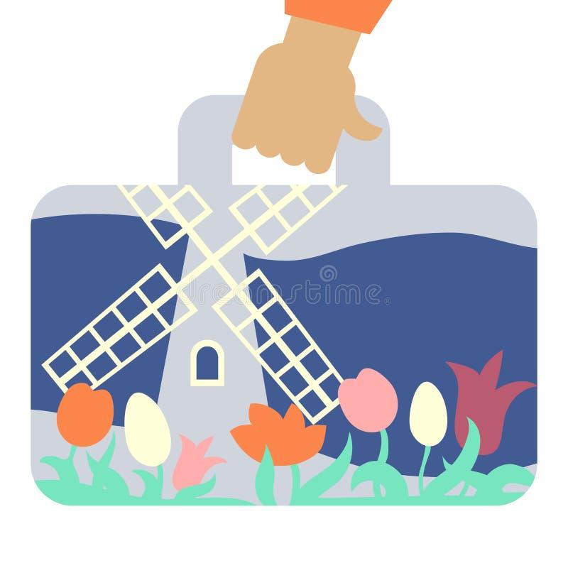 Reiskoffer met beeld van van windmolen en bloemen vector illustratie