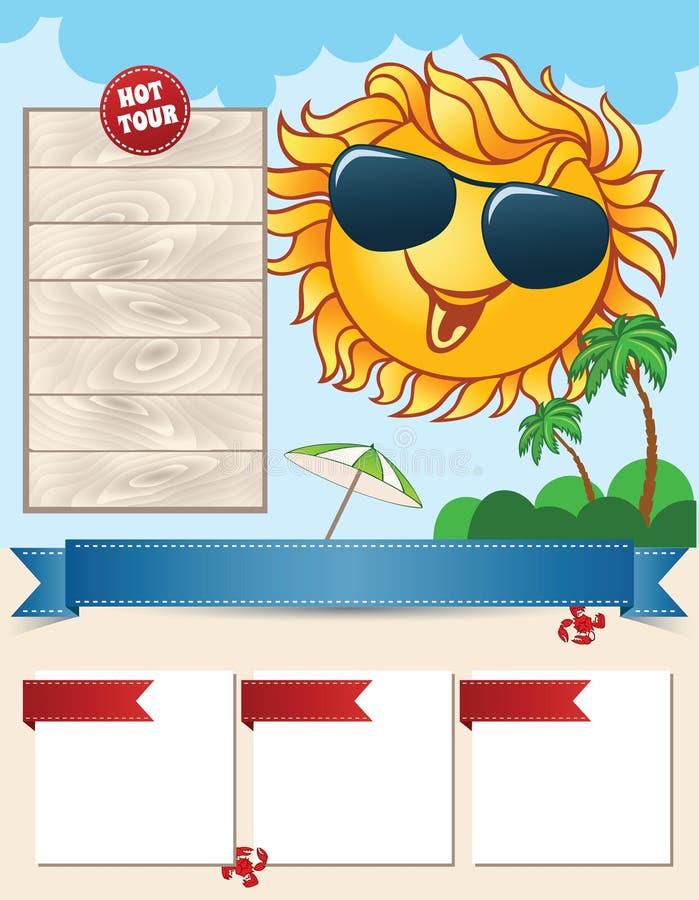 Reismalplaatje met het glimlachen van zon stock illustratie