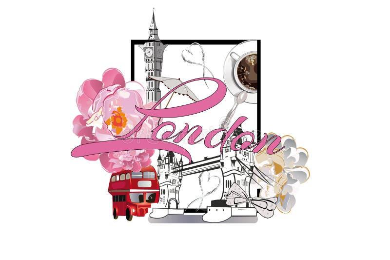 Reisontwerp met de symbolen van Londen en een kop koffie en bloemen royalty-vrije illustratie