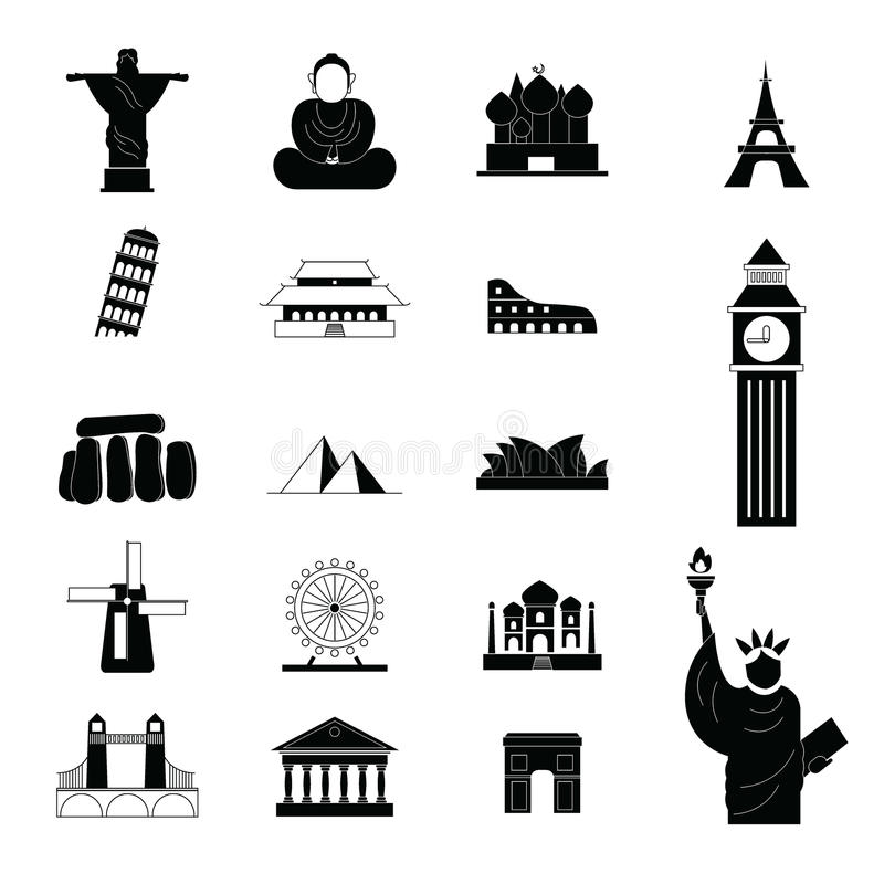 Reisoriëntatiepunt rond de wereldpictogrammen stock illustratie