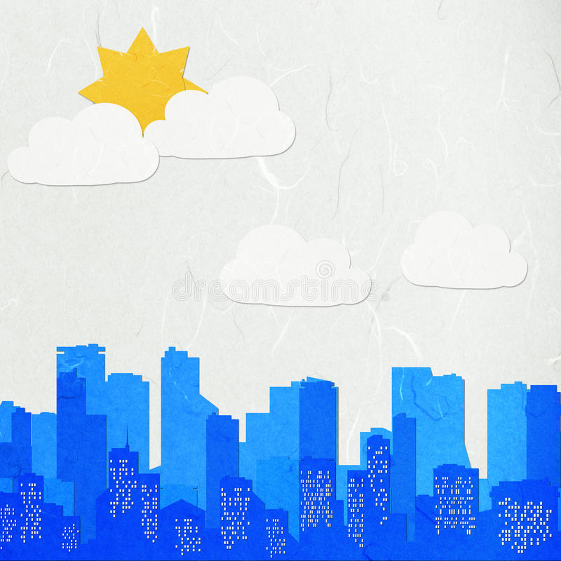 Reispapier-Schnitt-Stadtbild lizenzfreie abbildung