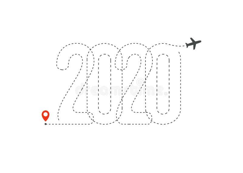Reispictogram voor volgend jaar 2020 Flight Map, bestemming met 2020 pad in New Year trip logo concept Geïsoleerde vector stock illustratie