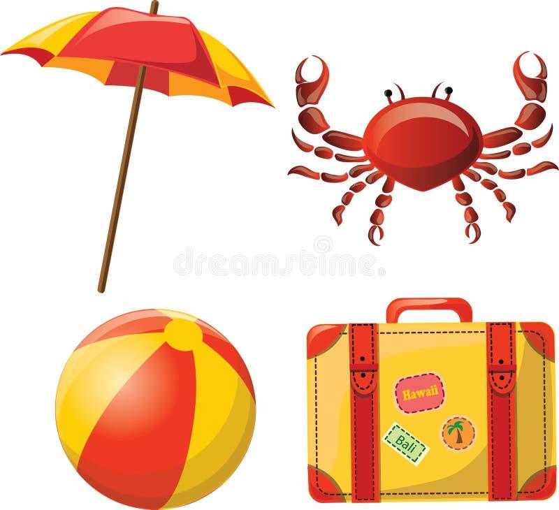 Reispictogrammen, bal, paraplu, krab en koffer stock illustratie