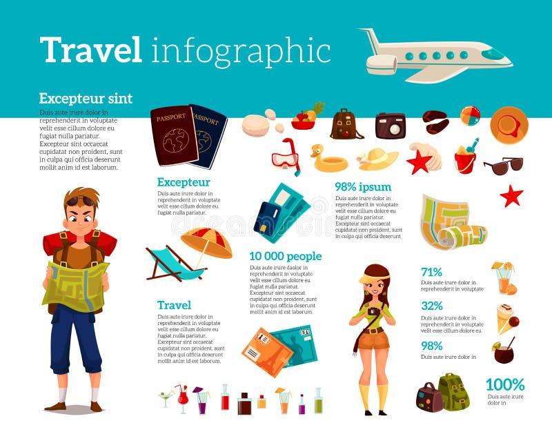 Reispictogrammen, Infographic met elementen van vakantie stock illustratie