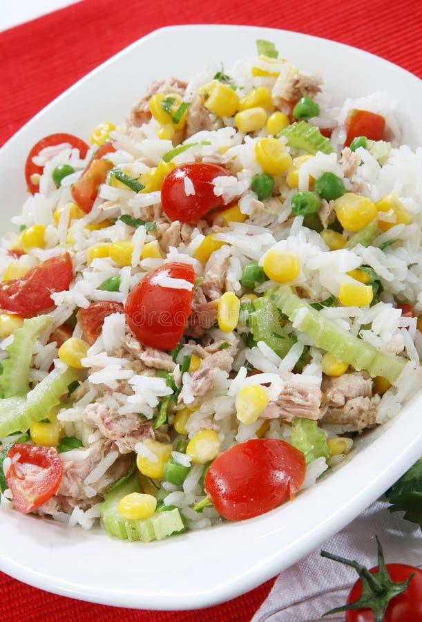 Reissalat mit Thunfisch stockfotos