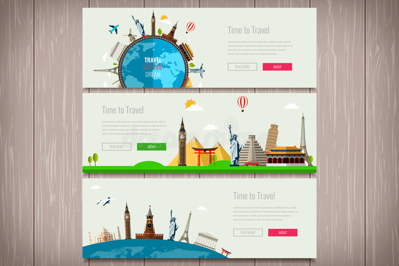 Reissamenstelling met beroemde wereldoriëntatiepunten Reis en toerisme Het malplaatje van de conceptenwebsite Vector Modern vlak  stock illustratie