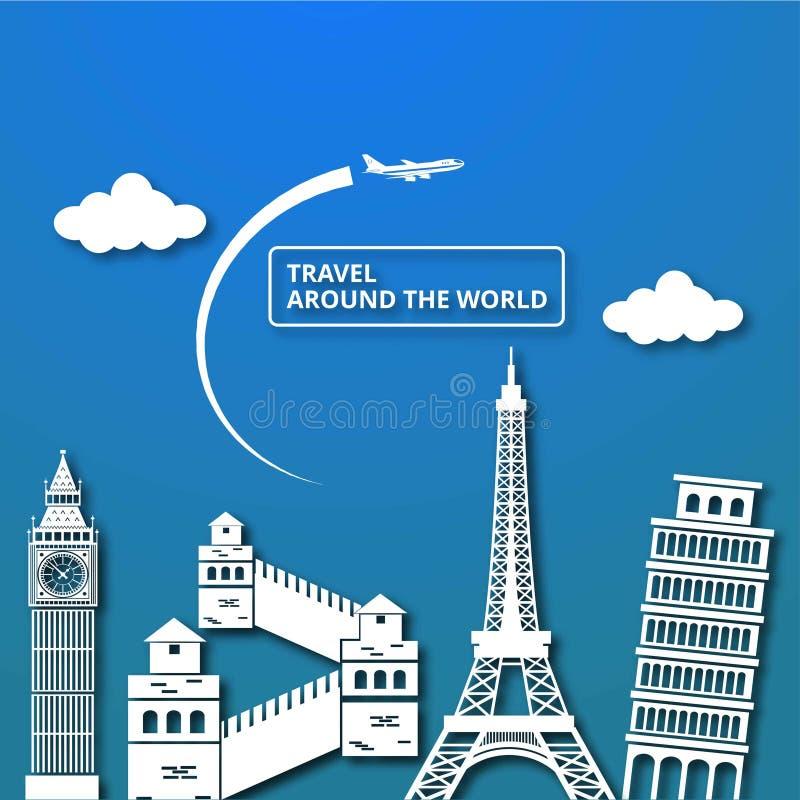 Reissamenstelling met beroemde wereldoriëntatiepunten Reis rond Th stock illustratie
