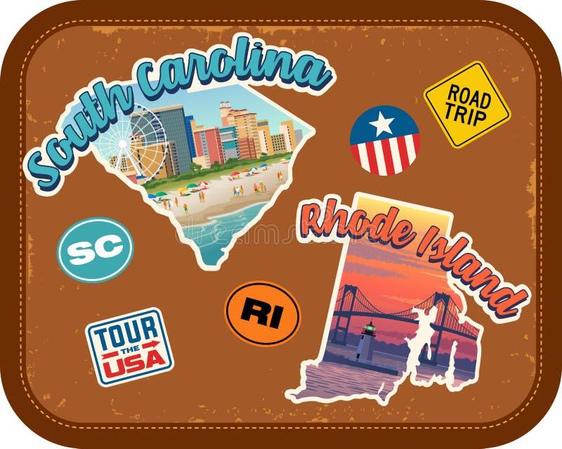 Reisstickers de Zuid- van Carolina, Rhode Island met toneelaantrekkelijkheden stock illustratie