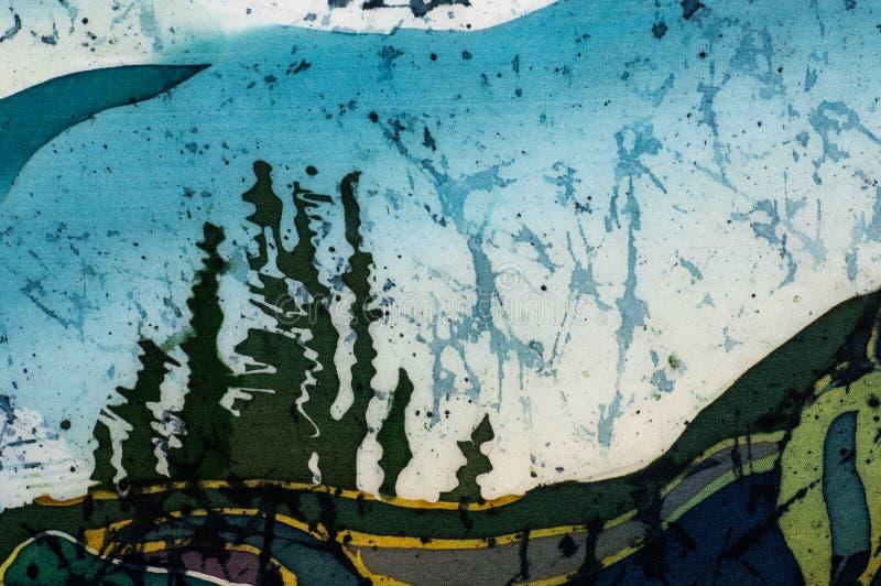 Reisterrassen, Landschaft mit Bergen, Fragment, heißer Batik, handgemachte Kunst auf Seide vektor abbildung
