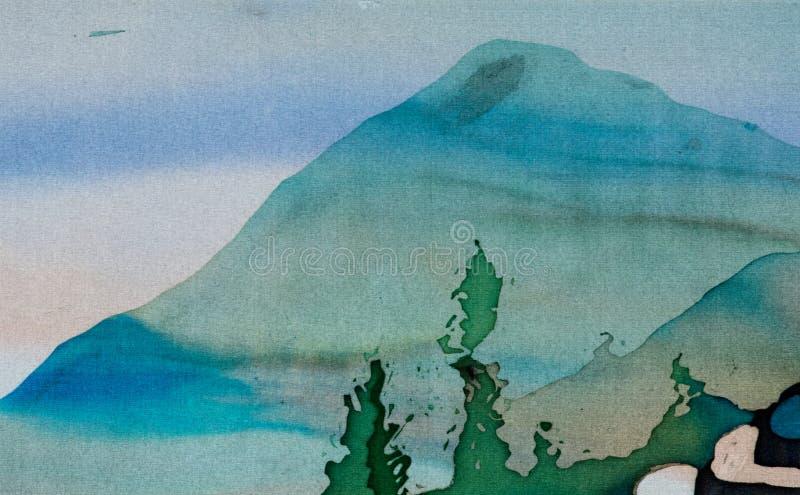 Reisterrassen, Landschaft mit Bergen, Fragment, hei?er Batik, handgemachte Kunst auf Seide stock abbildung
