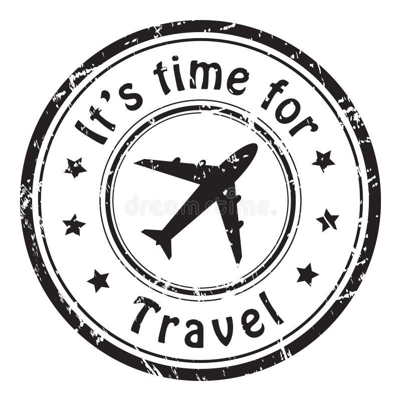 Reistijd, grunge postdiezegelpictogram, zwarte op witte achtergrond, vectorillustratie wordt geïsoleerd stock illustratie